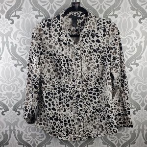 Lane Bryant Perfect button down, abstract leopard